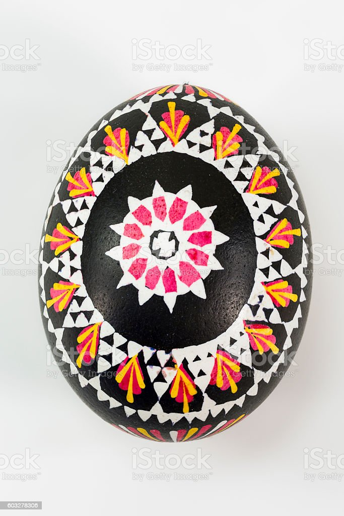 isolated Sorbian painted easter egg on white background stock photo