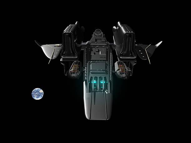 Isolierte Raumschiff mit Erde – Foto