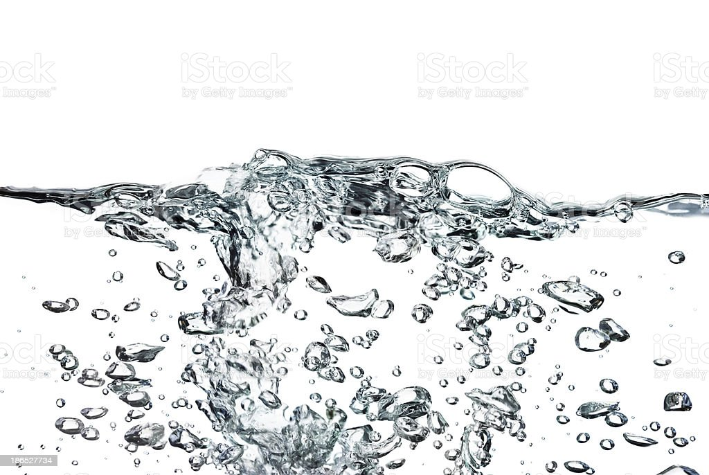 Isolated splash of water with bubbles on a white background stock photo