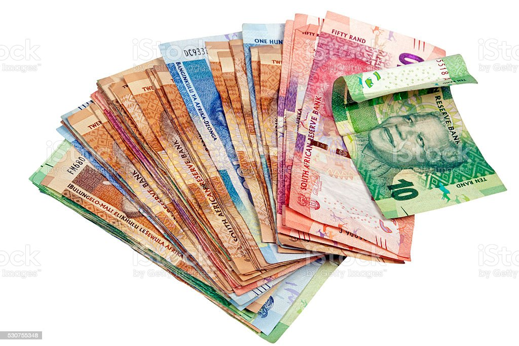 Isolated Spread South African Rand Notes on White stock photo