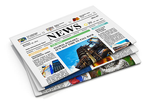 Isolated stack of newspapers on a white background See also: front page stock pictures, royalty-free photos & images