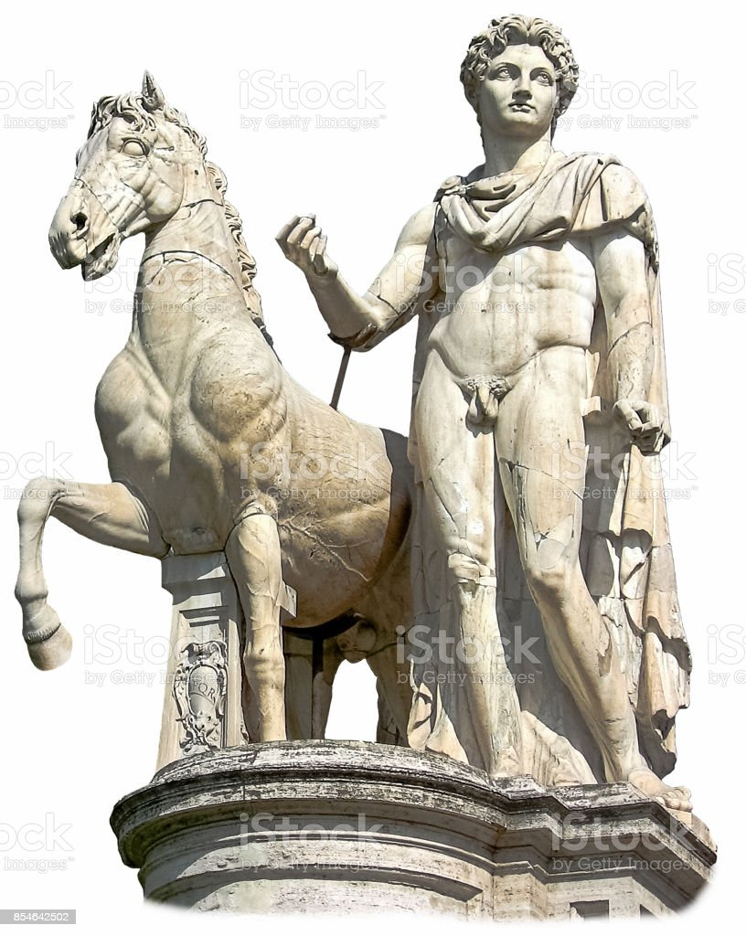Isolated statue of the Dioscure, a young man, with a horse. Capitoline Hill (Rome, Italy). Famous ancient roman monument on the white background stock photo