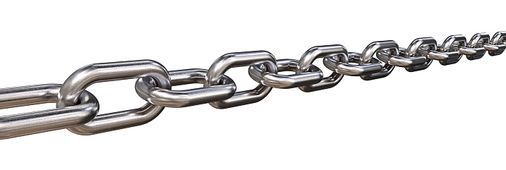 3D render of a Steel Chain. Worn rough texture. Isolated wide format.
