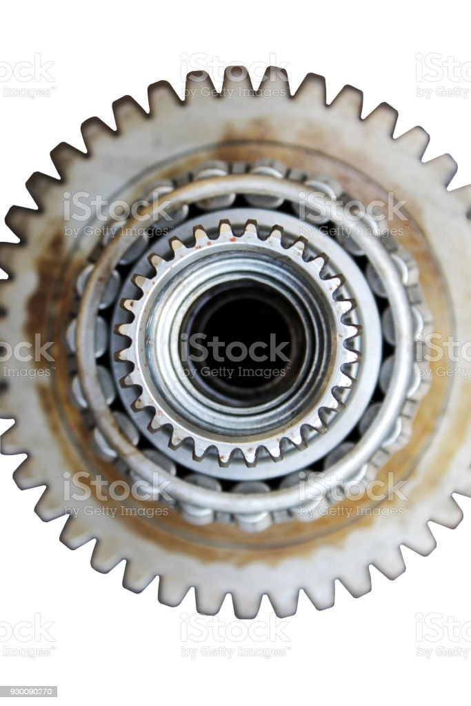 Isolated steel parts of car on white background stock photo
