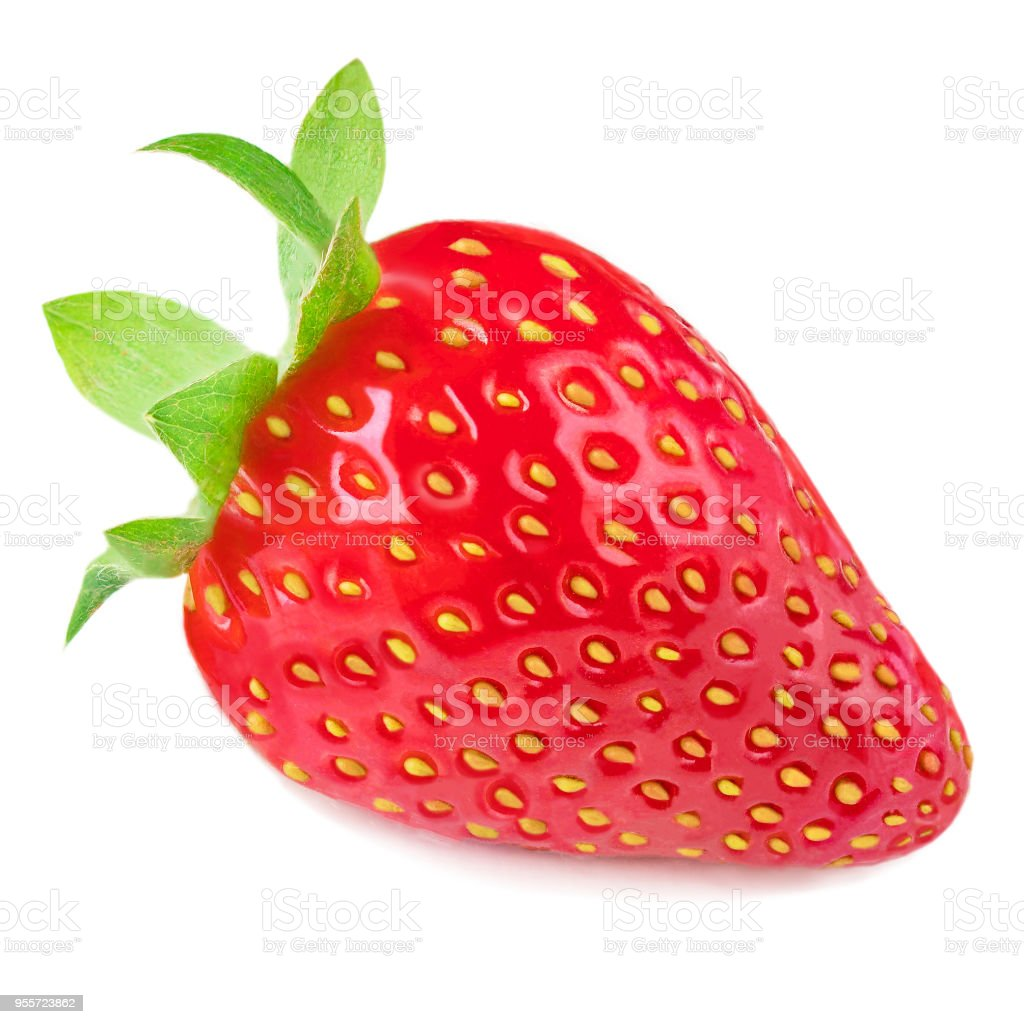 Isolated Strawberry. Fresh ripe whole strawberry fruit isolated on white background, close up image'n stock photo