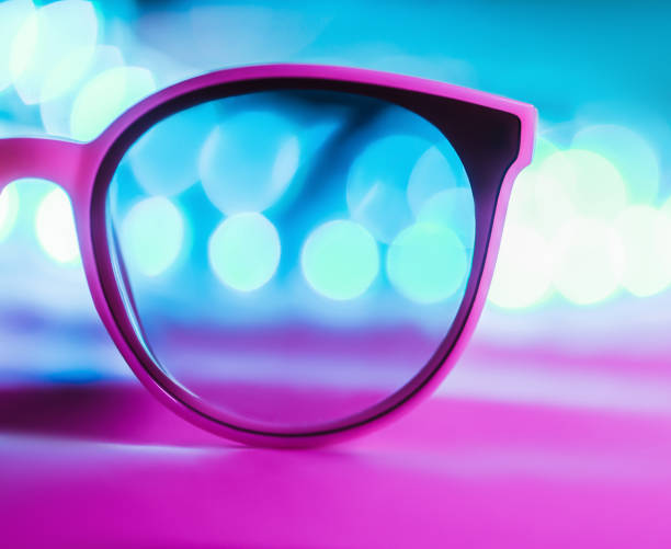 Isolated sunglasses with colorful reflections stock photo