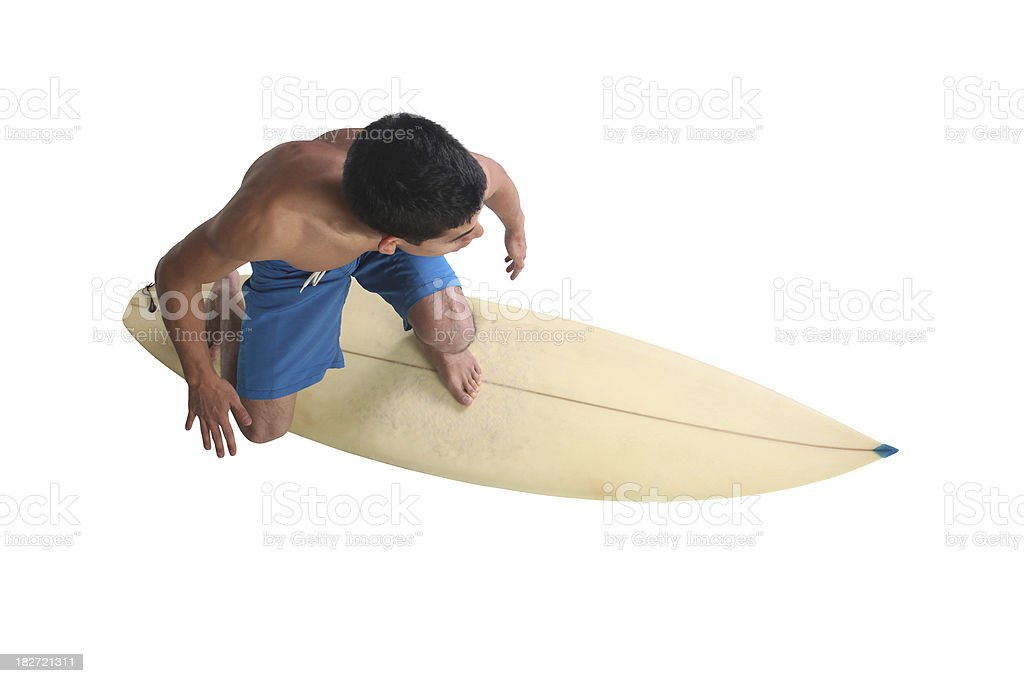 Isolated surfer dude above view royalty-free stock photo