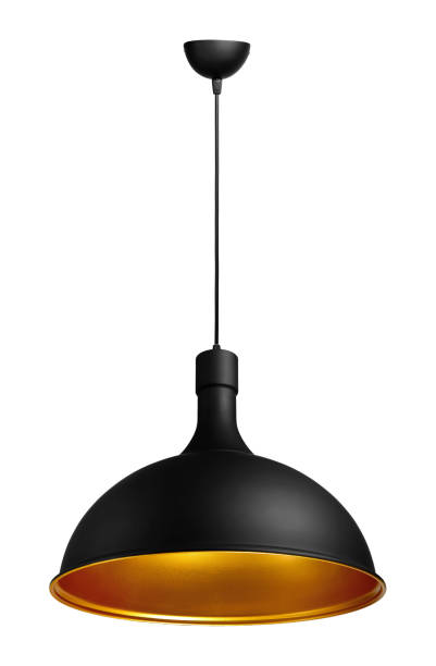 isolated suspended ceiling lamp, made of painted metall - потолок стоковые фото и изображения