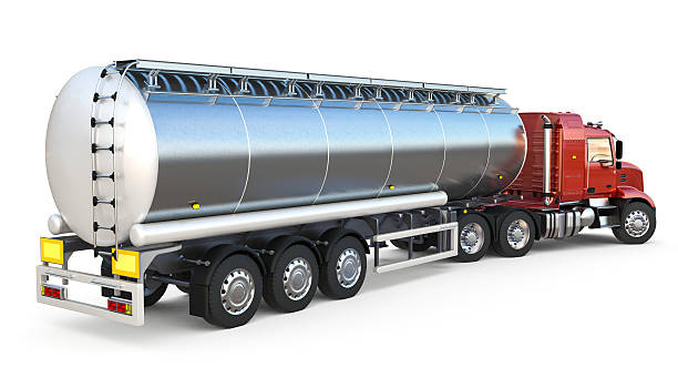 Isolated tanker on white background stock photo