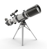 Generic 3D telescope isolated on white.Similar: