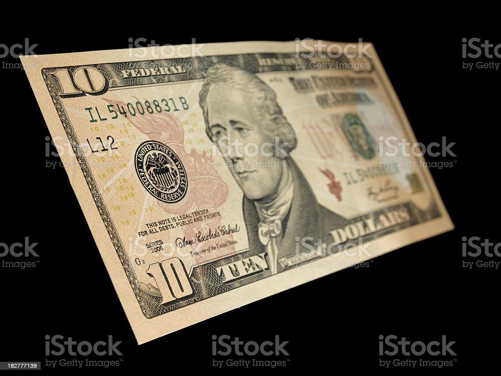 isolated ten dollar note stock photo