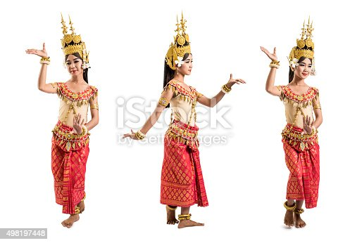An Apsara dancer from Angkor Wat takes three different poses, properly isolated on a white background and nicely lit (studio shot). Apsara dance is an ancient Khmer tradition dating back from the splendor of the Khmer empire.
