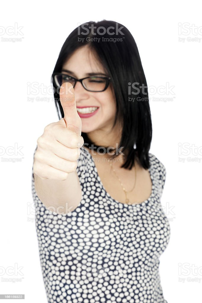 Isolated Thumbs-up Winking 30's Woman royalty-free stock photo