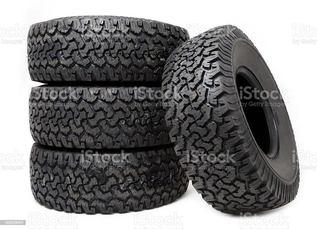 Isolated tire wheels on white background  royalty-free stock photo