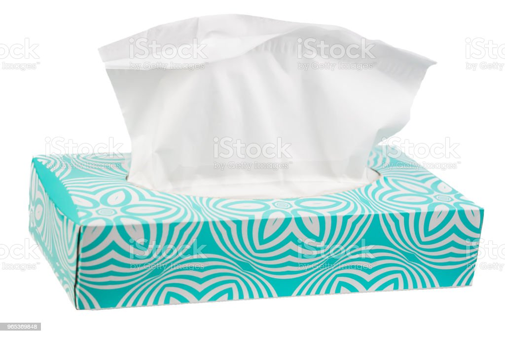 Isolated tissue box with bright blue springtime and summertime colors zbiór zdjęć royalty-free