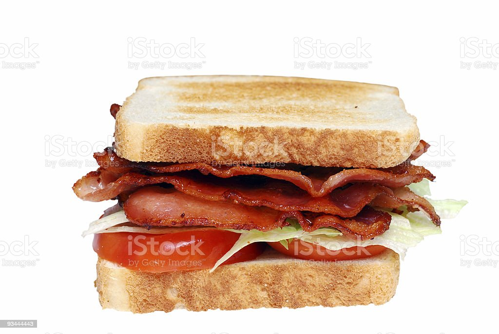 Isolated Toasted Bacon Lettuce Tomato club sandwich royalty-free stock photo