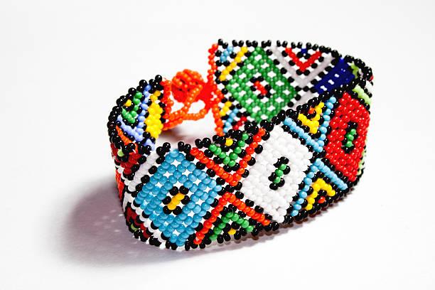 Isolated Traditional Bright Beaded Zulu Bracelet stock photo