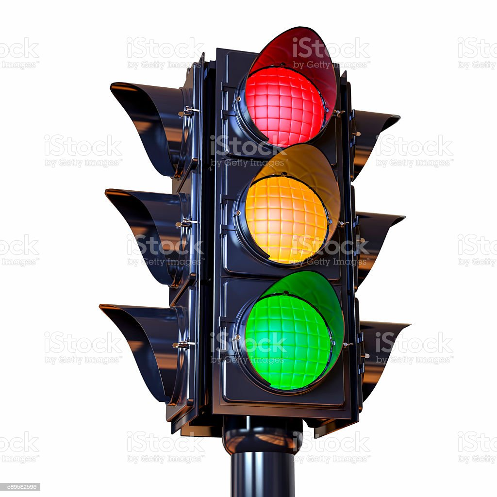 3D Isolated Traffic Light Illustration ストックフォト