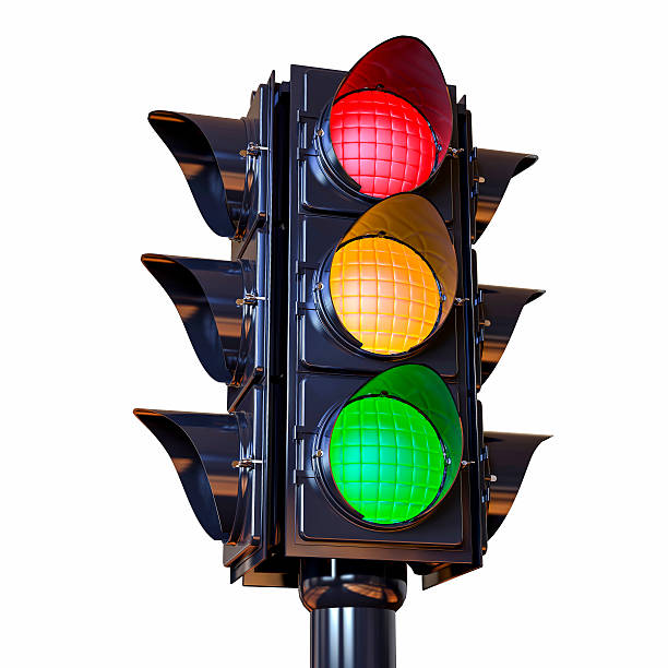 3d isolated traffic light illustration - semáforo fotografías e imágenes de stock