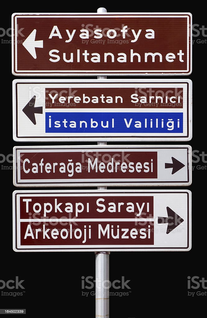 Isolated traffic signpost in Istanbul Turkey royalty-free stock photo