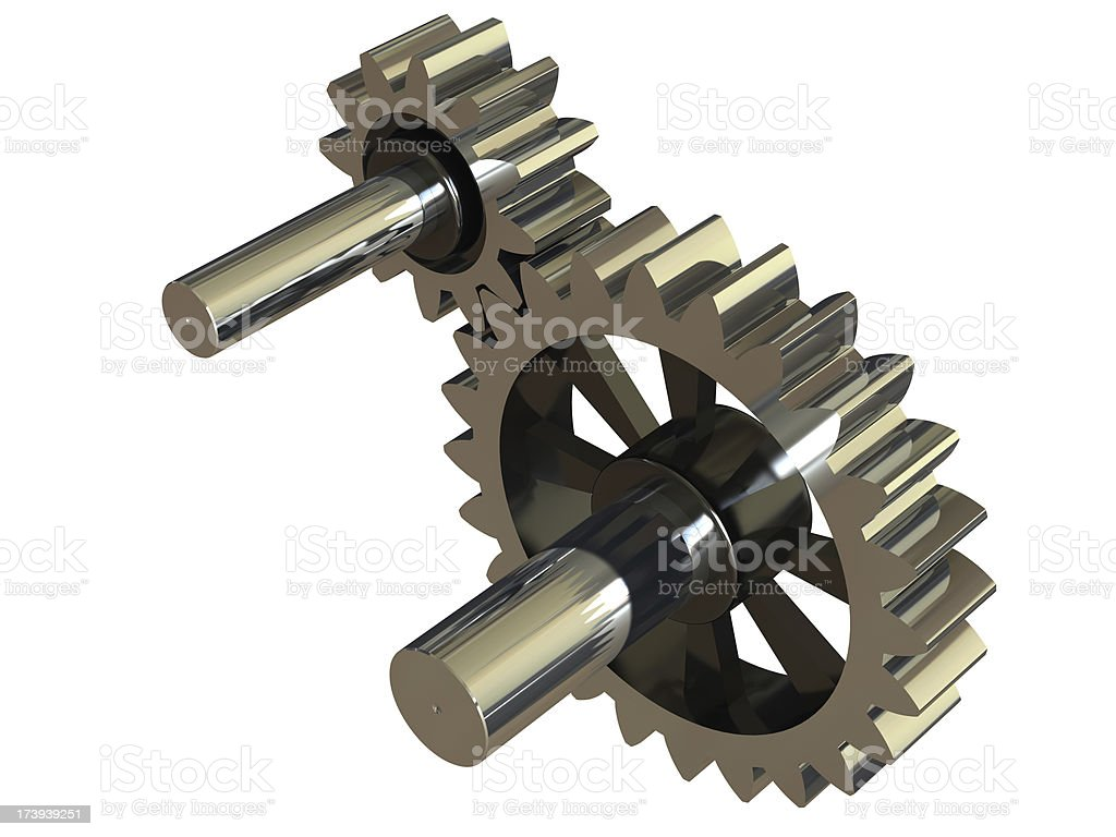 Isolated Train of gears stock photo