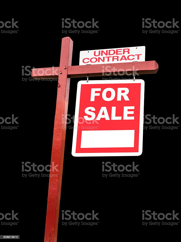 Isolated transparent real estate For Sale sign stock photo