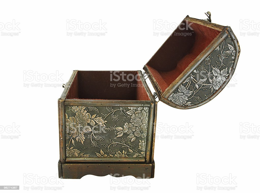 Isolated Treasure Chest, Open (Profile View) royalty-free stock photo