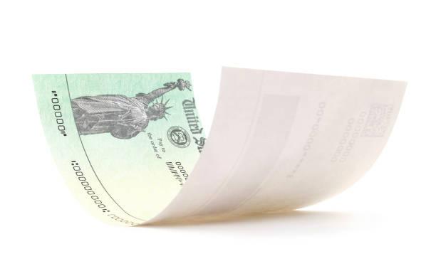 Isolated Treasury Check stock photo