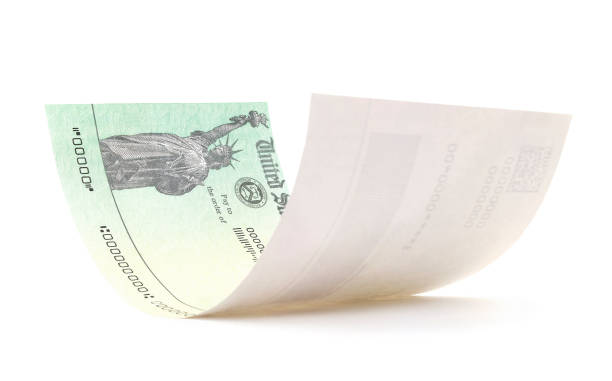 isolated treasury check - social security check stock photos and pictures
