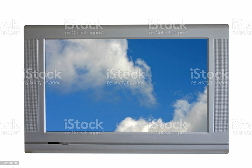 Isolated TV, blue sky on screen royalty-free stock photo