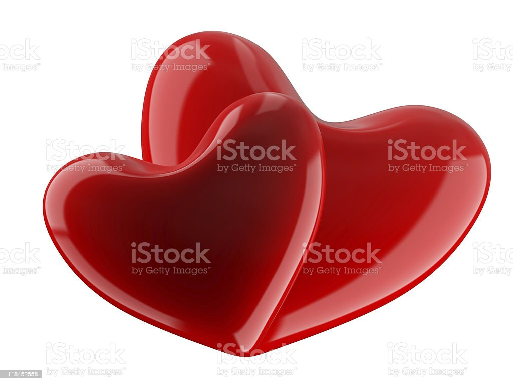 Isolated two hearts on white background. 3D image. royalty-free stock photo