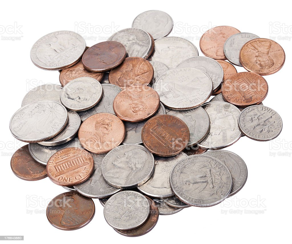Isolated US Coins Pile royalty-free stock photo
