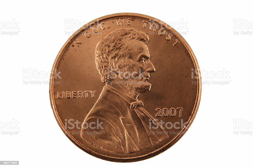 Isolated US penny royalty-free stock photo
