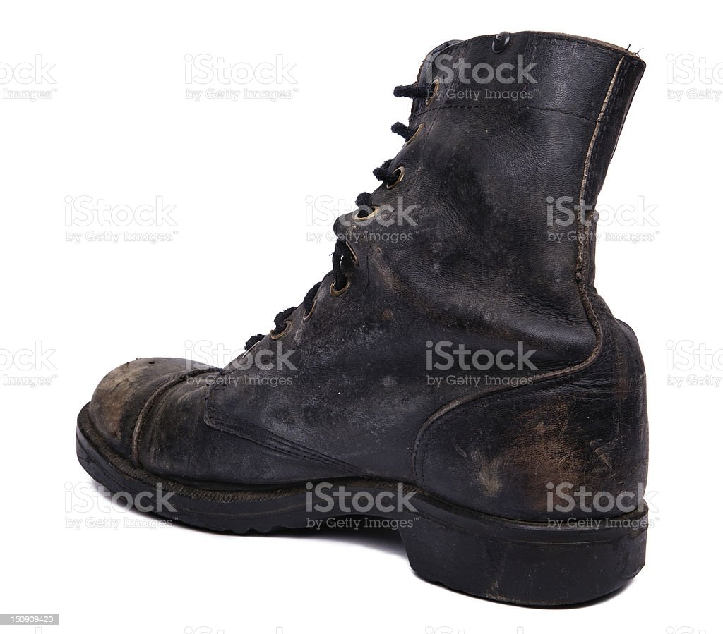 Isolated Used Army Boot - Diagonal Heel royalty-free stock photo