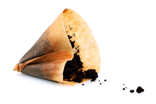 Isolated Used Coffee Filter