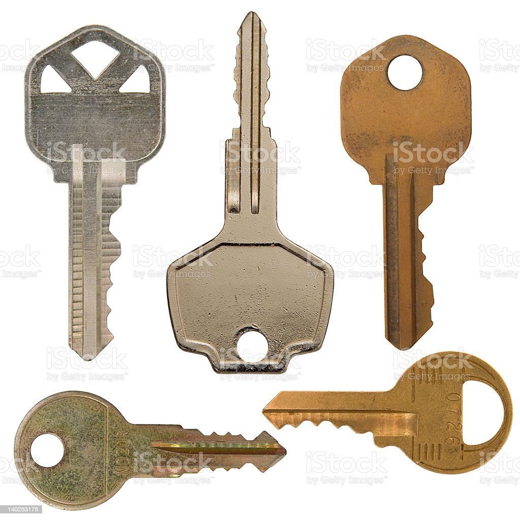Isolated Various metal keys stock photo