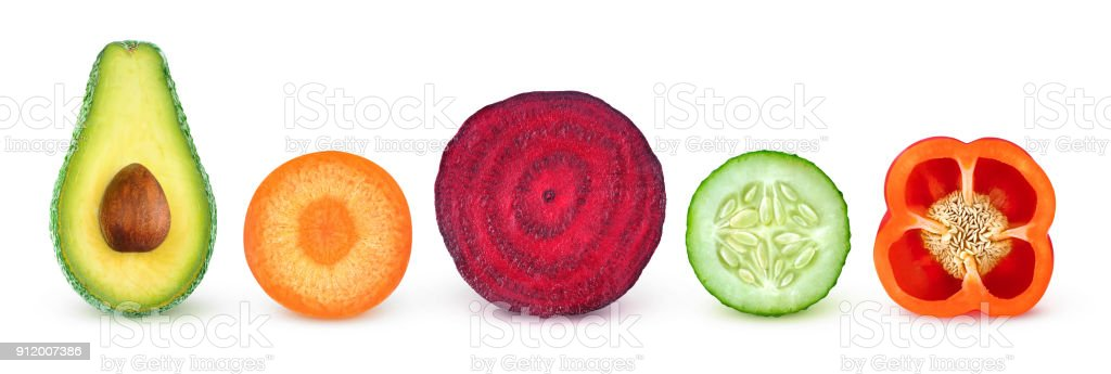 Isolated vegetable halves stock photo