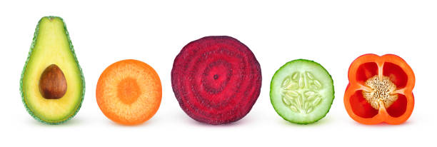 Isolated vegetable halves stock photo