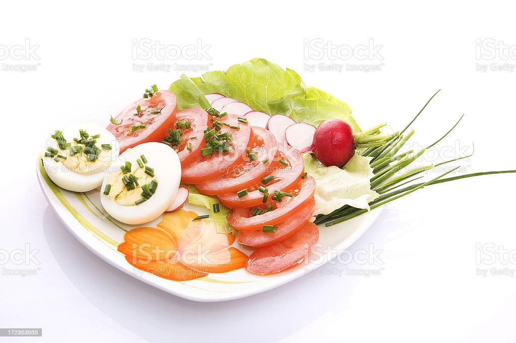Isolated vegetable plate royalty-free stock photo