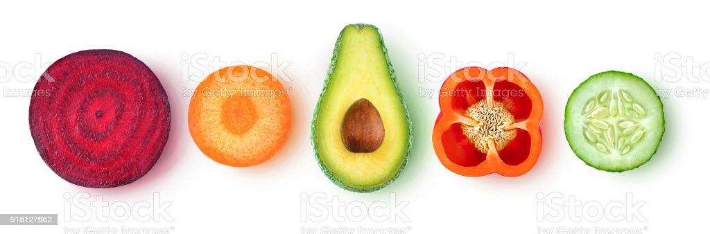 Isolated vegetable slices stock photo