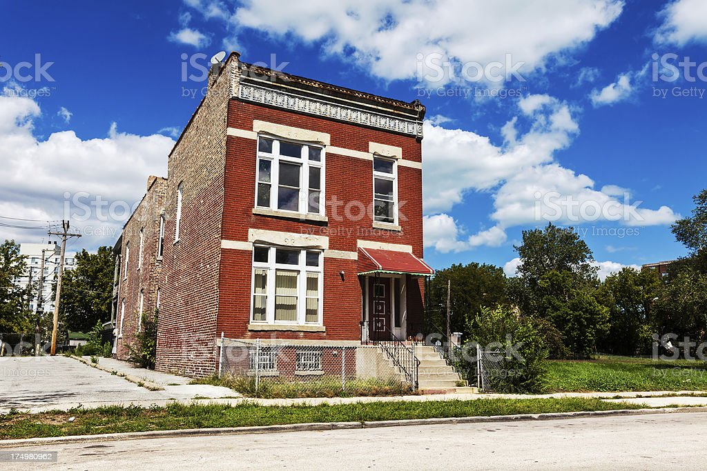 Isolated Victorian House in Oakland, Chicago royalty-free stock photo