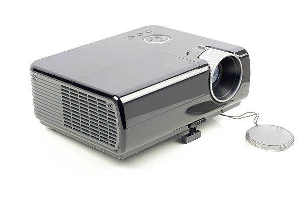 isolated video projector on a white background - projection equipment stock pictures, royalty-free photos & images