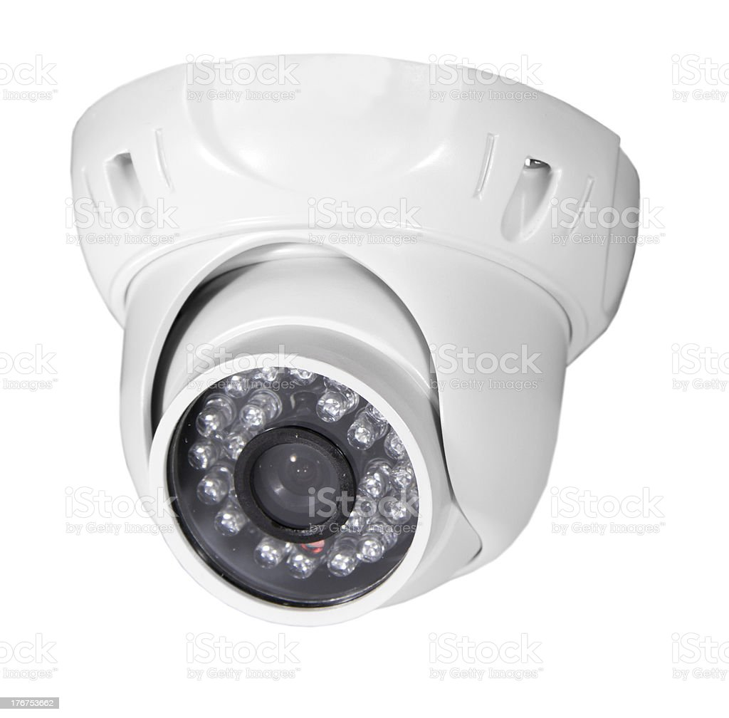 isolated video surveillance camera stock photo