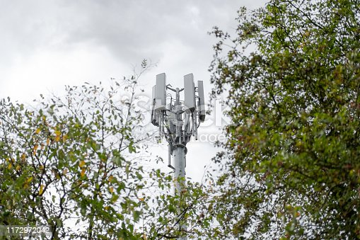 istock Isolated view of a newly installed, 4G telecommunications tower showing detail of the mast. 1172972042