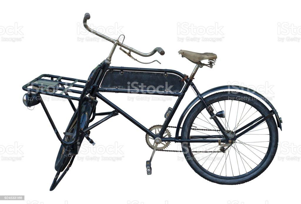 Bicicleta de entrega Vintage isolado com sinal - foto de acervo