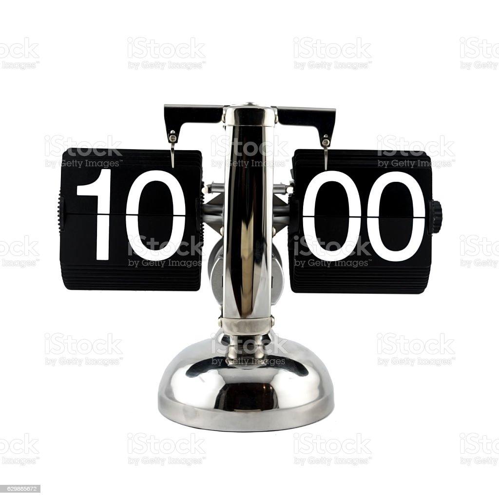 Isolated vintage flip clock at ten o'clock stock photo