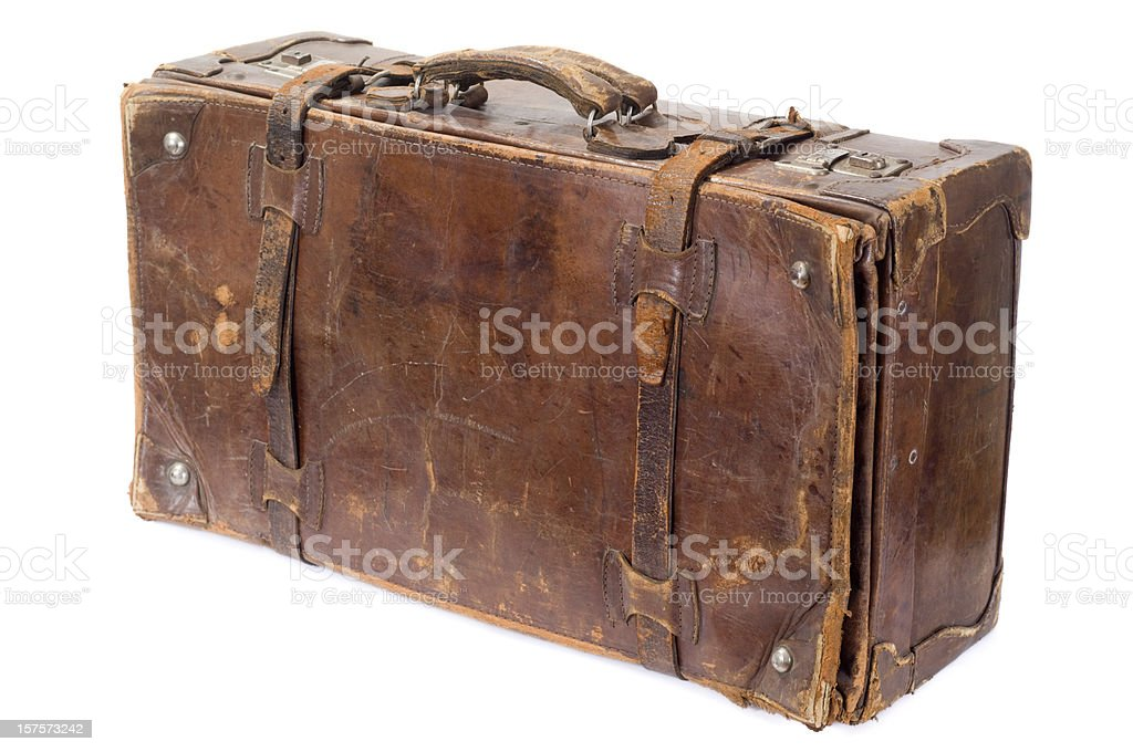 Isolated vintage old suitcase isolated on white stock photo