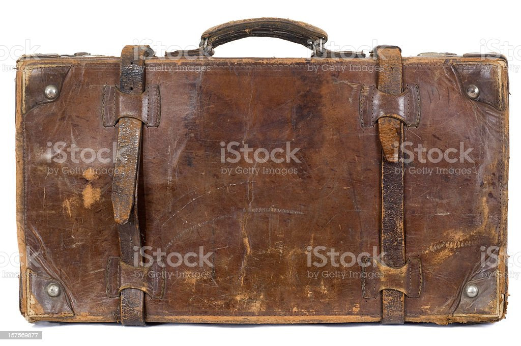Isolated vintage old suitcase stock photo