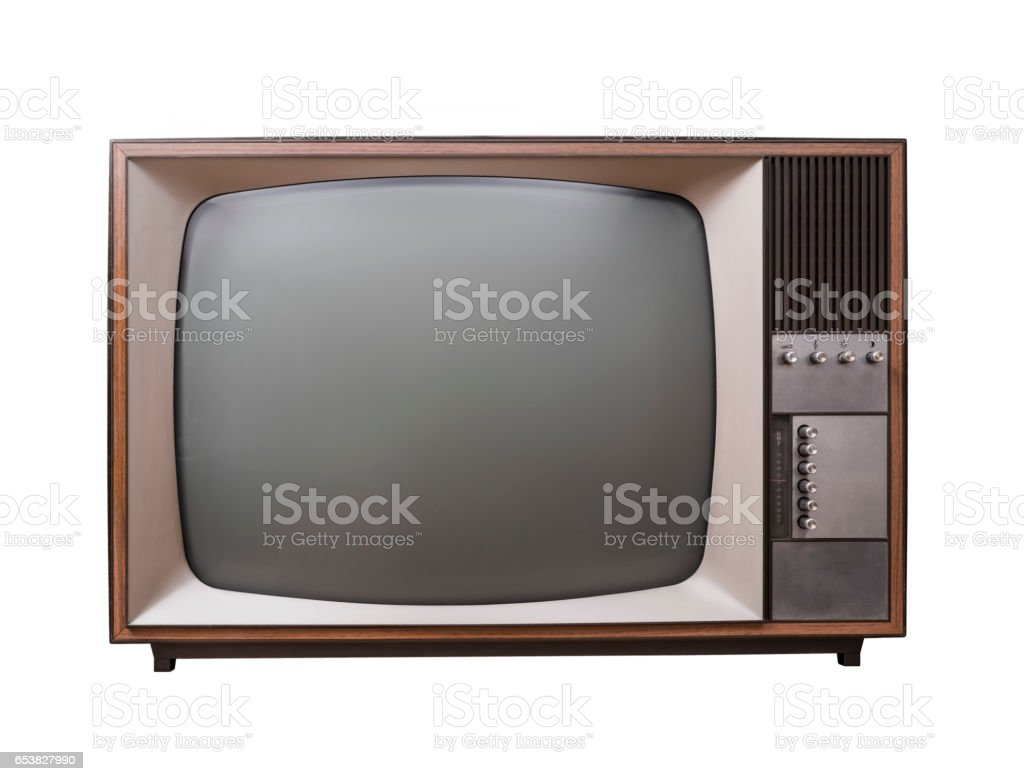 Isolated vintage television stock photo