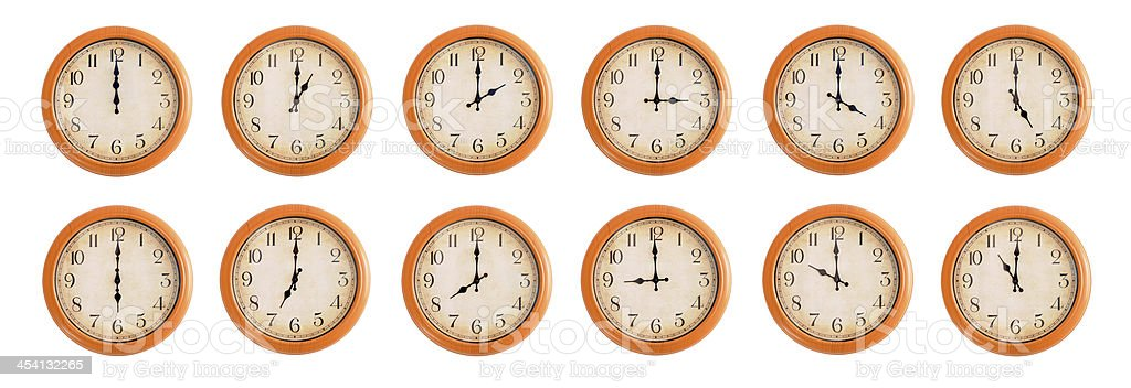 Isolated wall clocks set on white background #1/4 royalty-free stock photo